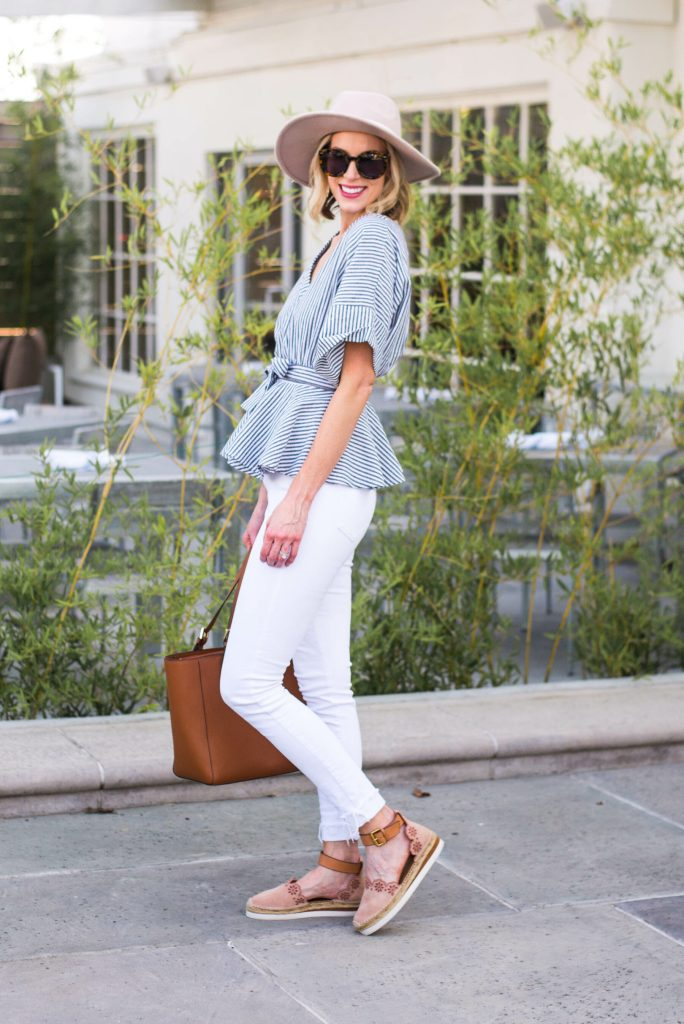 ultra flattering wrap top with white jeans