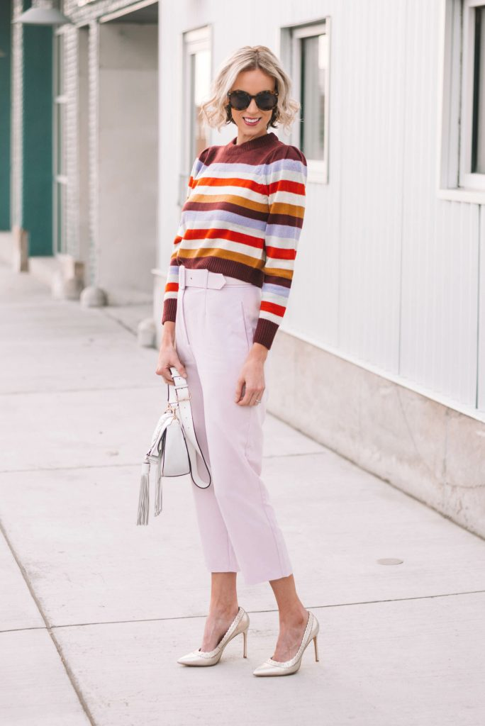 fall 2018 trends, 80s style fashion inspiration, bold stripes, shoulder pads, chunky belt buckles