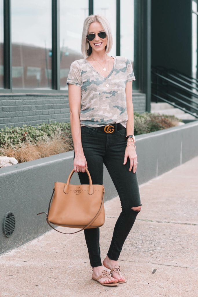 camo tee with black jeans - post about how to wear camo