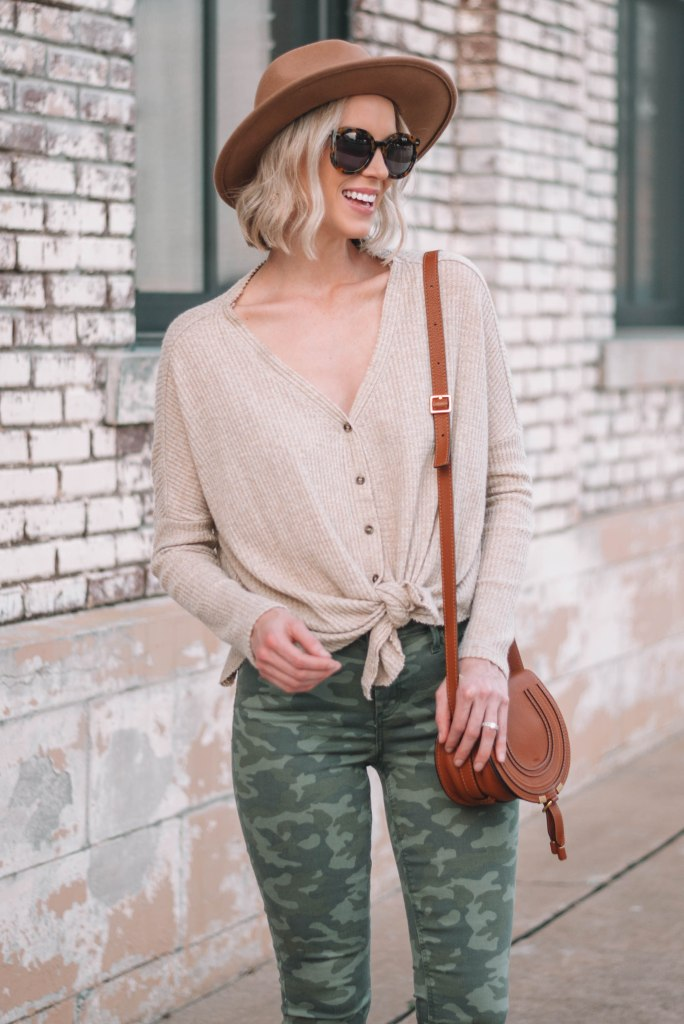 cute and casual fall outfit with camo and button front thermal top