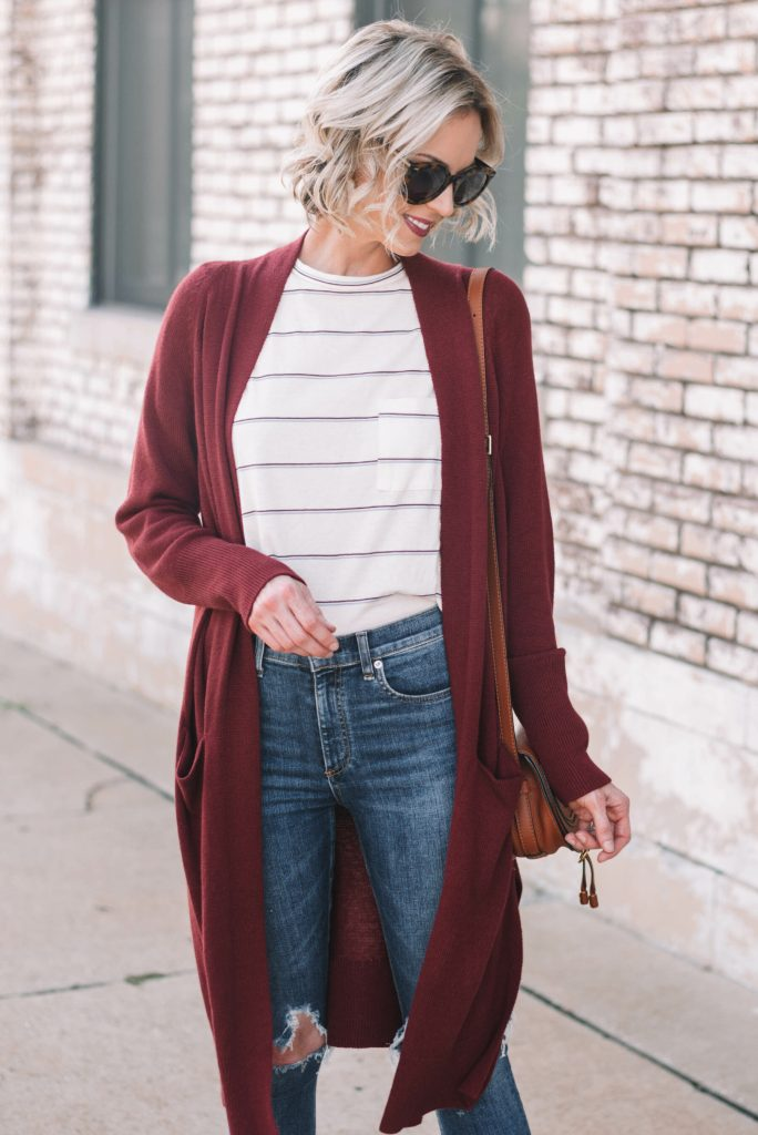 burgundy cardigan and striped t-shirt