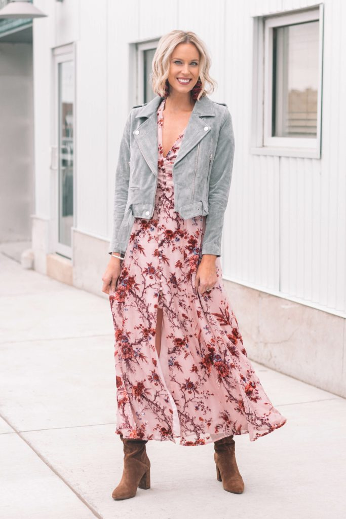 long blush floral dress with suede jacket
