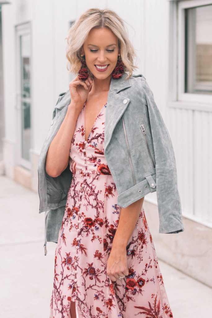 statement suede moto jacket in blue gray color