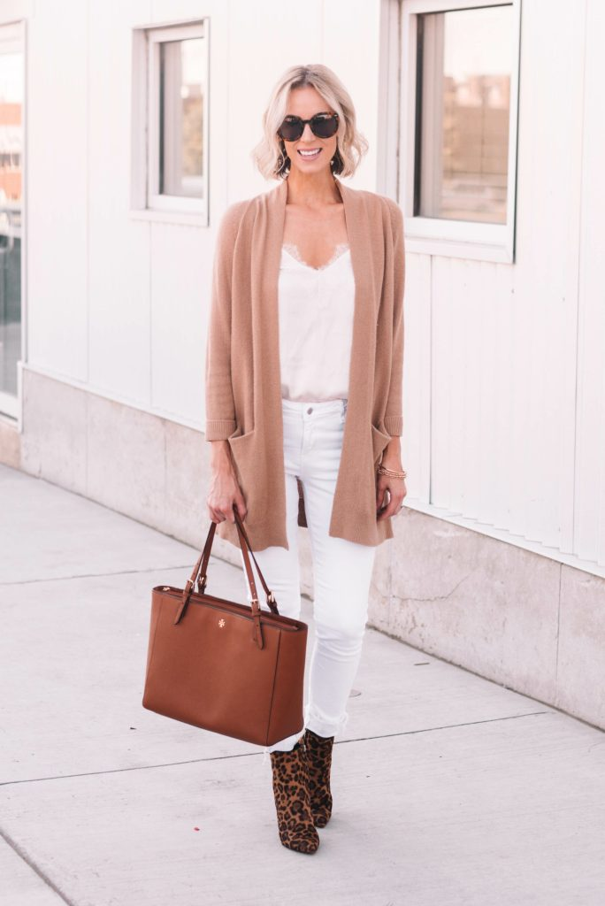 white jeans and cami with tan cardigan and leopard boots