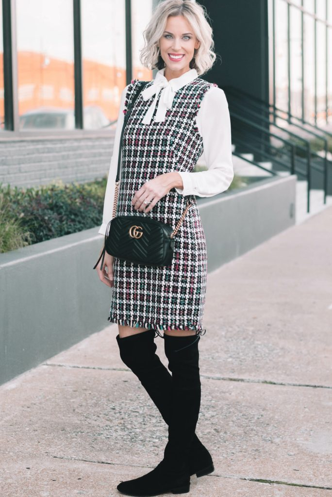 classy holiday outfit idea, tweed dress