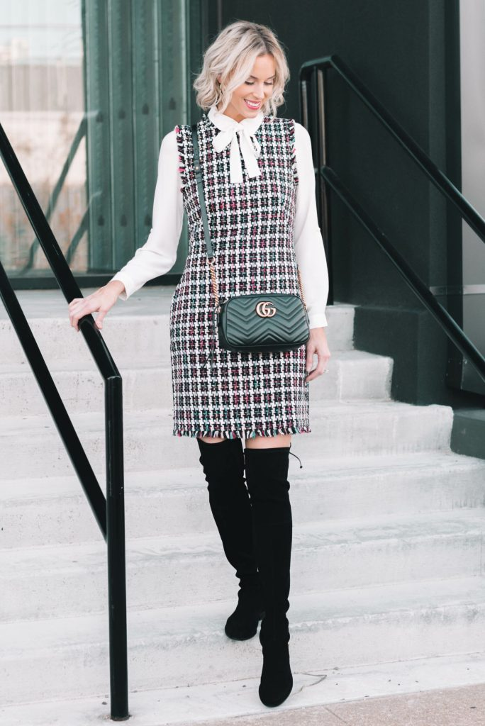 gorgeous tweed sheath dress with white bow blouse and over the knee boots