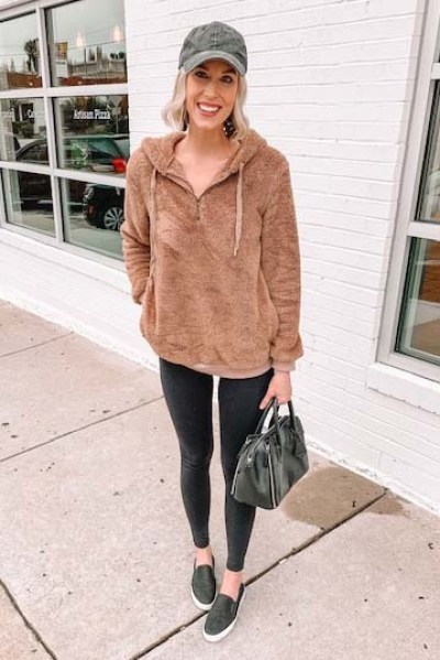 how to wear leggings casually; leggings with a cozy pullover