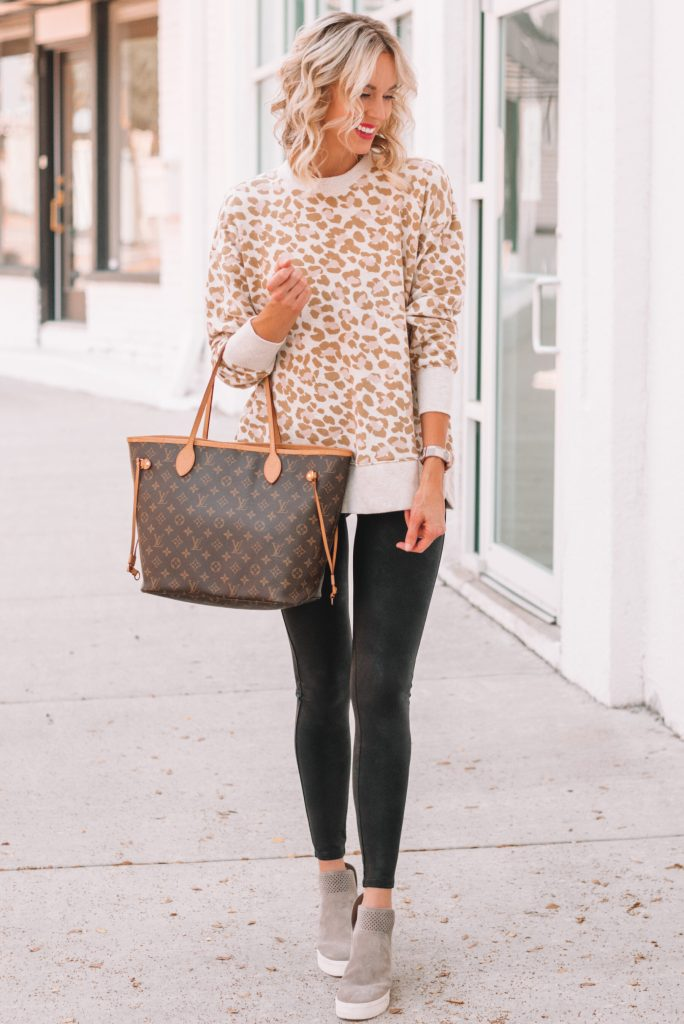 leopard pullover and leggings