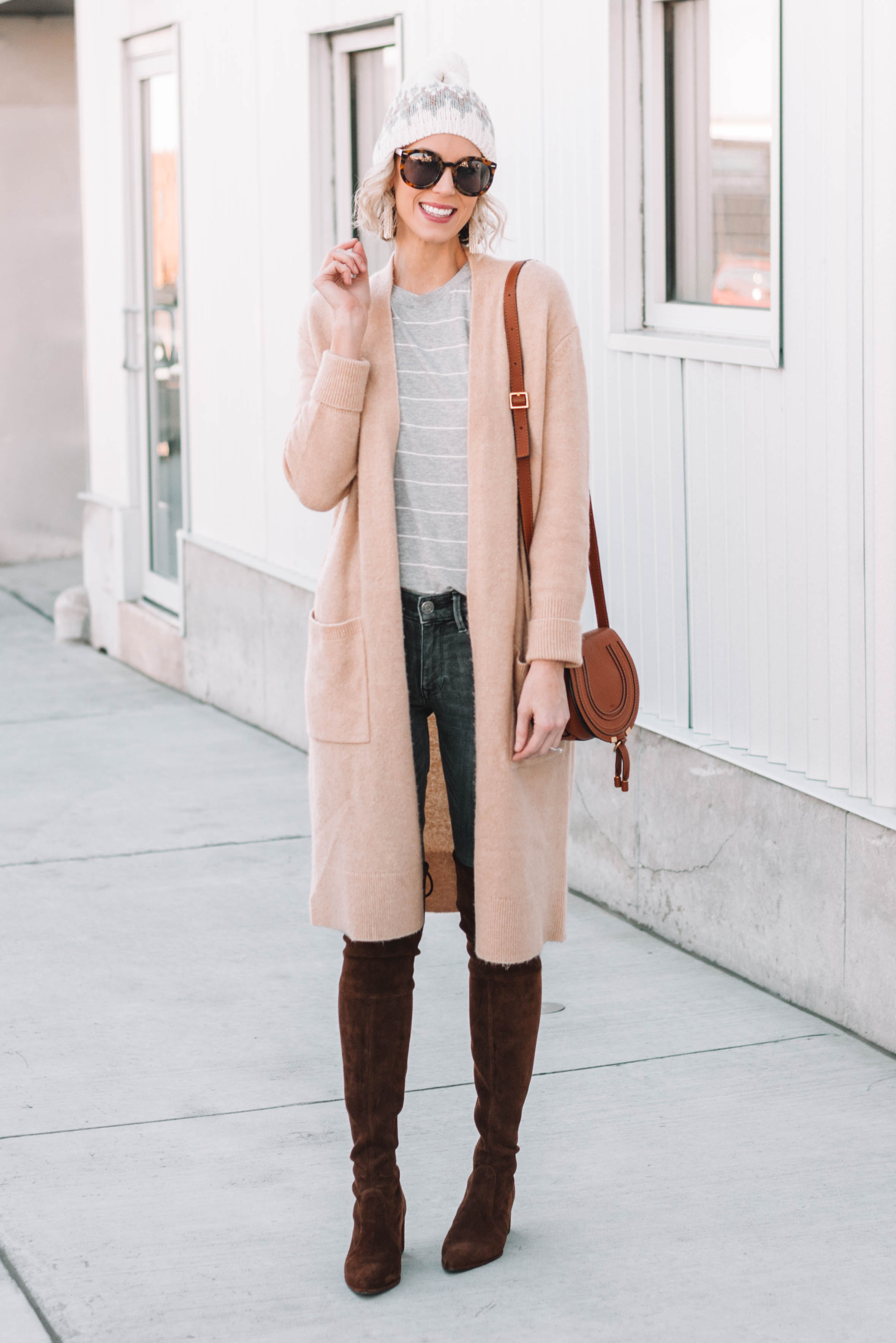 7db4fd97042 The Best Stuart Weitzman OTK Dupes long duster cardigan over jeans and a  t-shirt ...