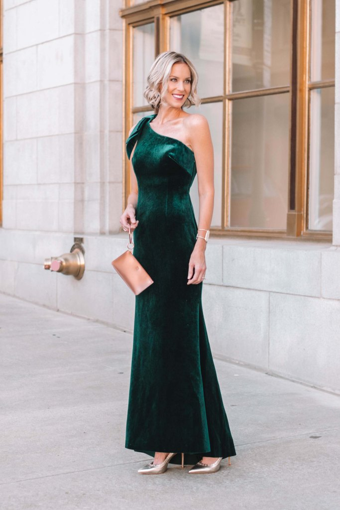 hunter green velvet one shoulder long formal dress