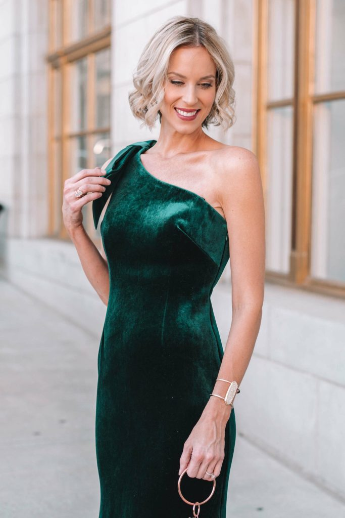hunter green velvet black tie gown