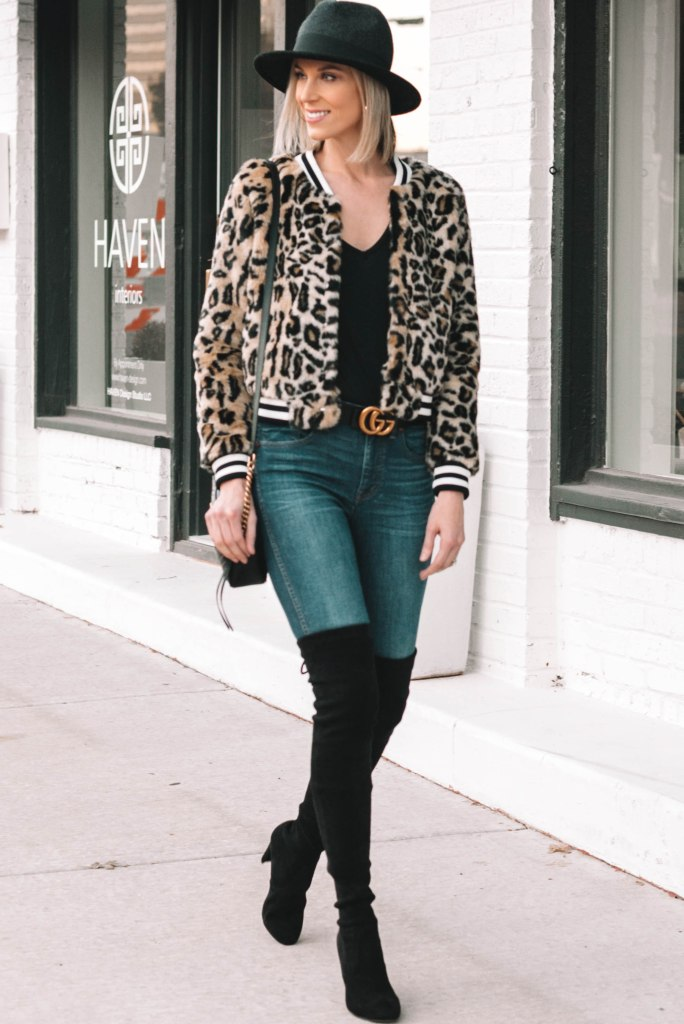 fun leopard bomber style jacket, black over the knee boots, black tee