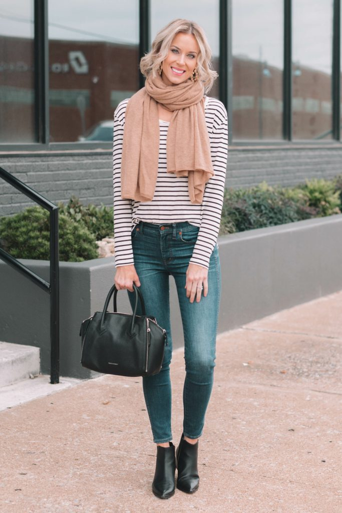 easily create two outfits by layering a cardigan over your favorite striped t-shirt