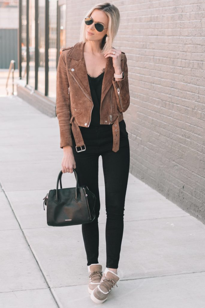 all black outfit with taupe accessories