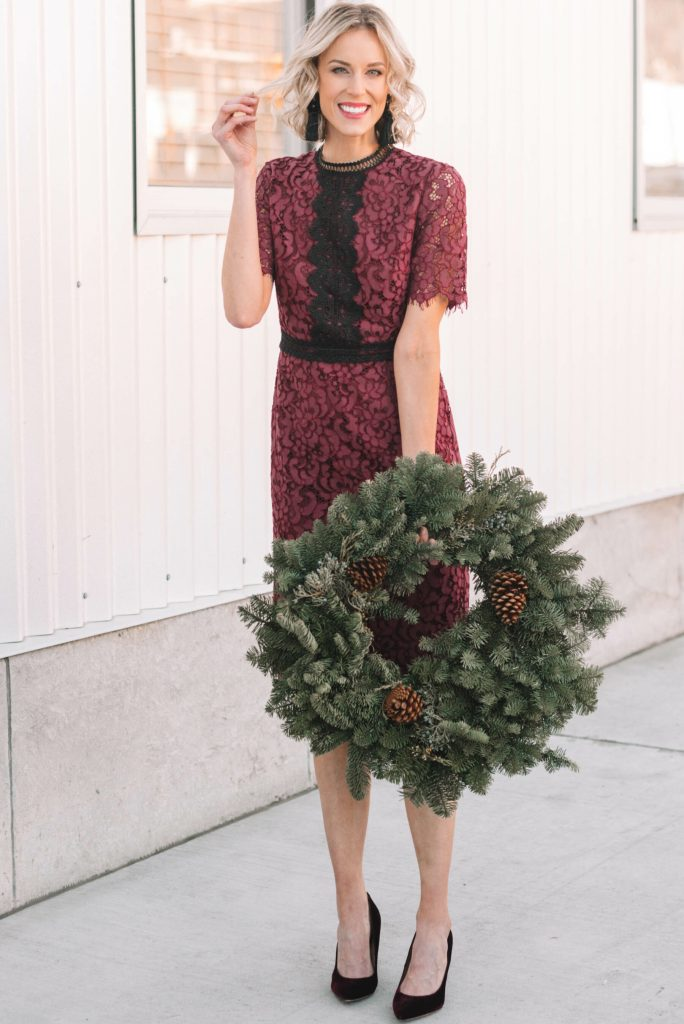 lace dress perfect for a dressy holiday event