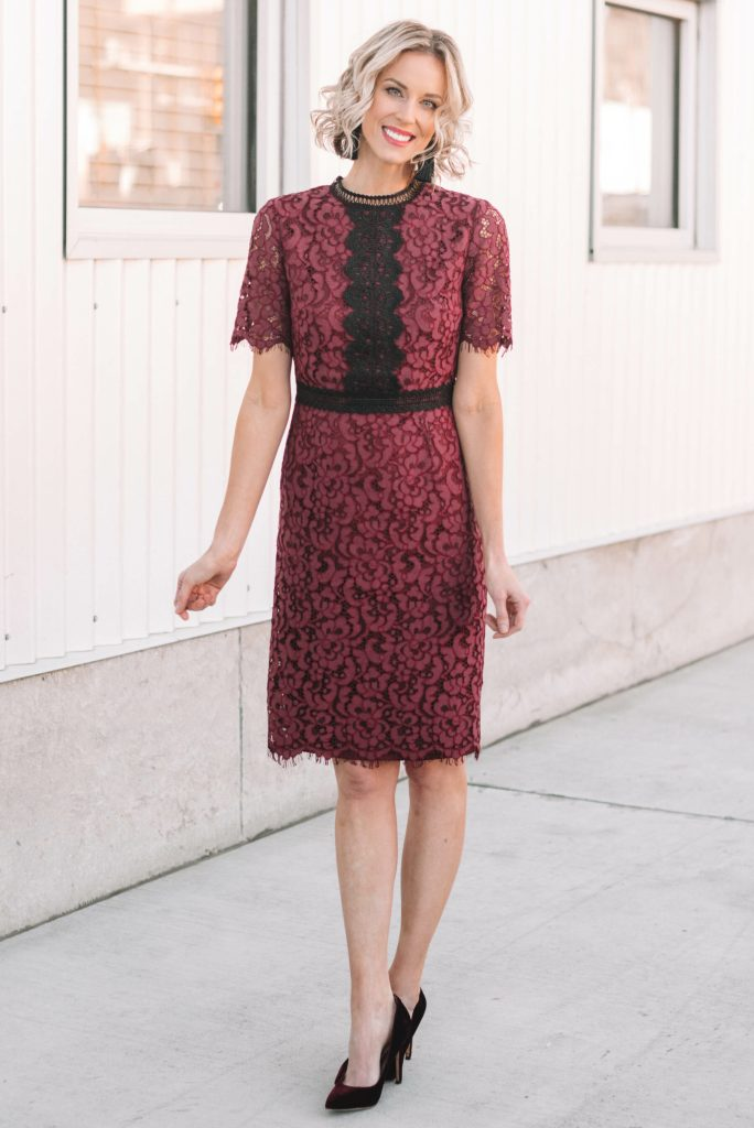gorgeous dressy plum and black lace dress