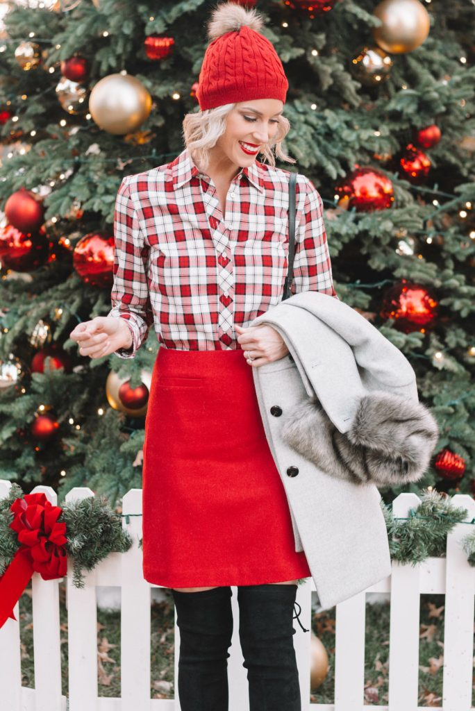 red beanie, red and white plaid button up, red a-line skirt