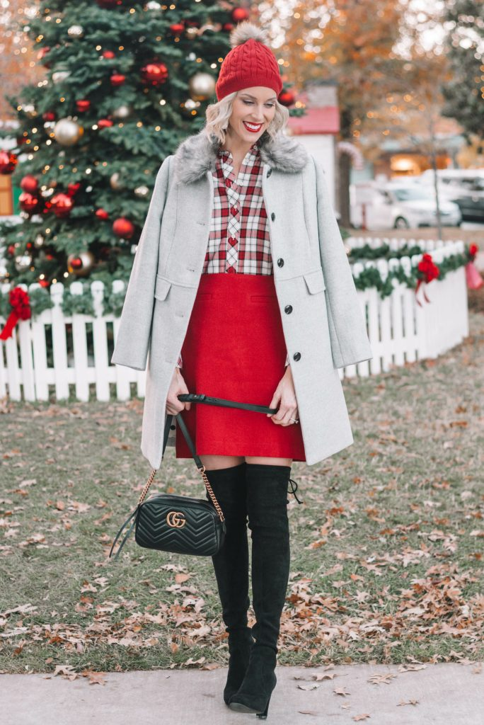 festive holiday outfit, red skirt, red plaid top