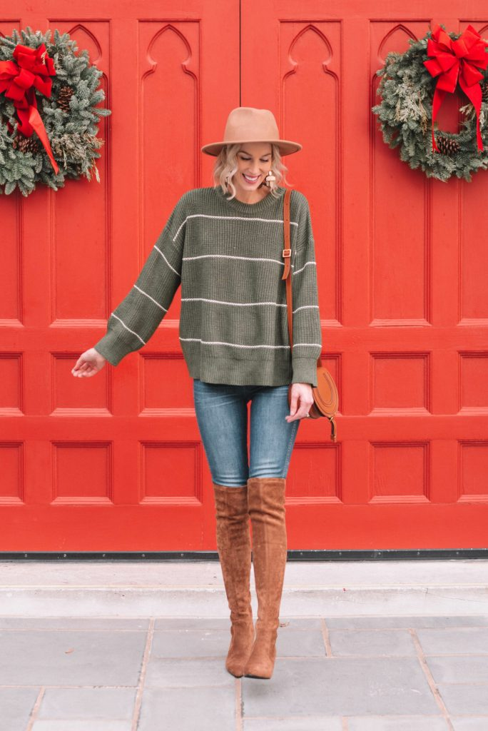 easy sweater and boots combo, camel over the knee boots, green striped sweater