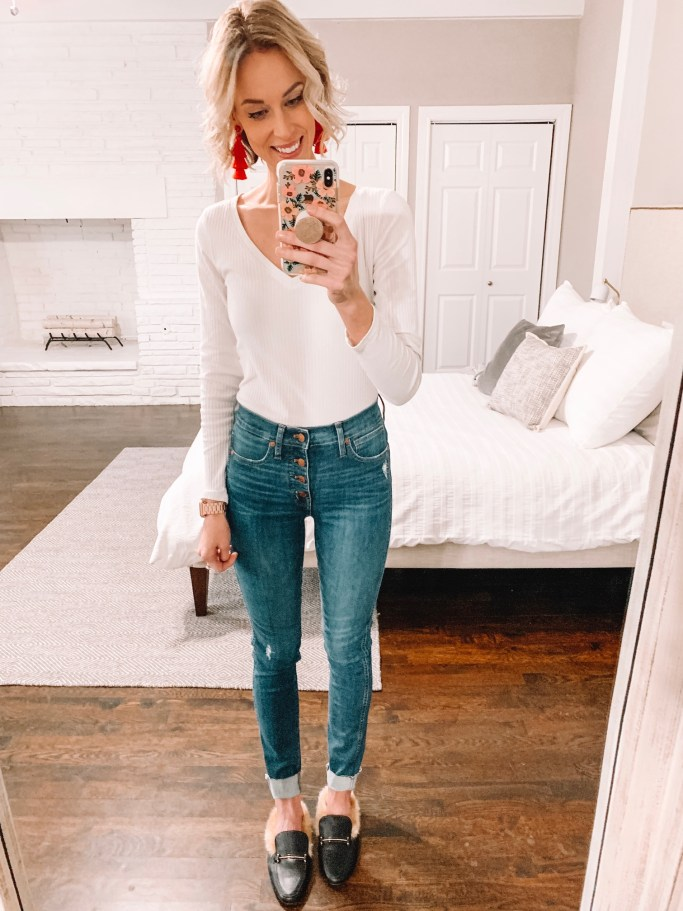 the best high waisted skinny jeans - Madewell button front