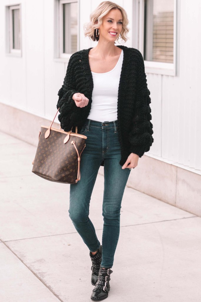 casual winter outfit with black cardigan and jeans