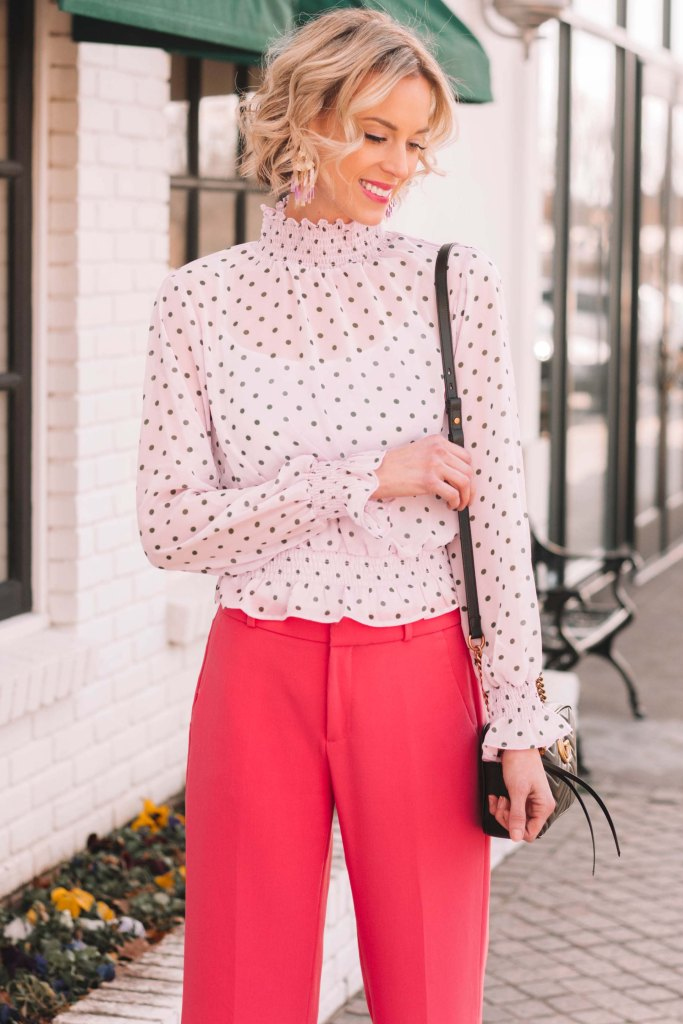 lilac polka dot blouse with pink pants