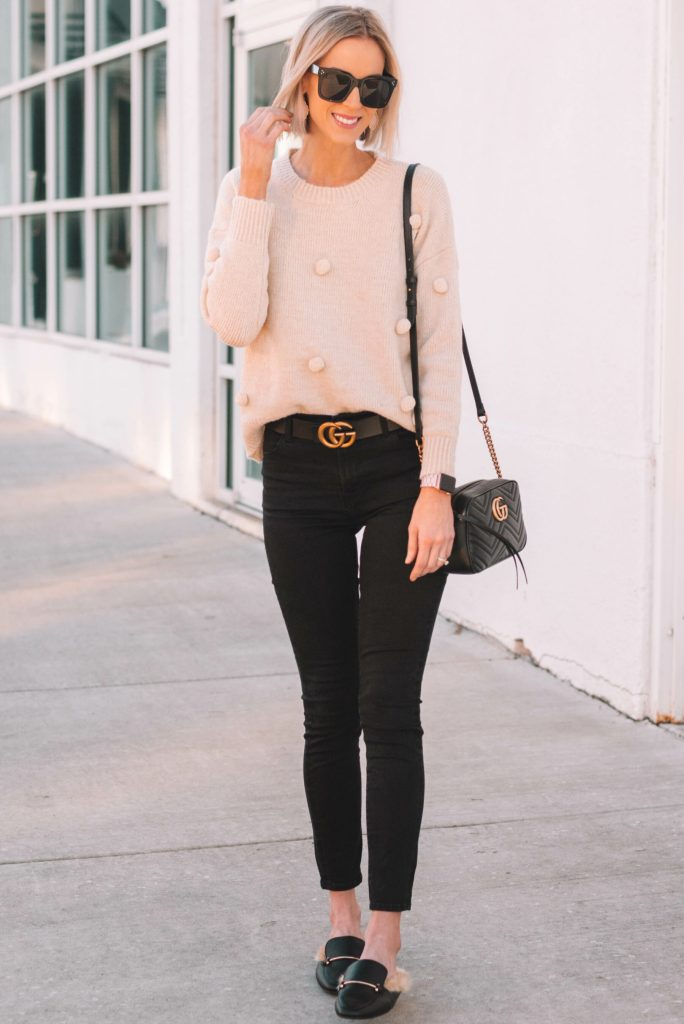 cute winter casual outfit, sweater and jeans