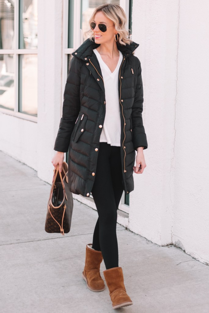knee length black puffer coat on sale with Koolaburra UGGS