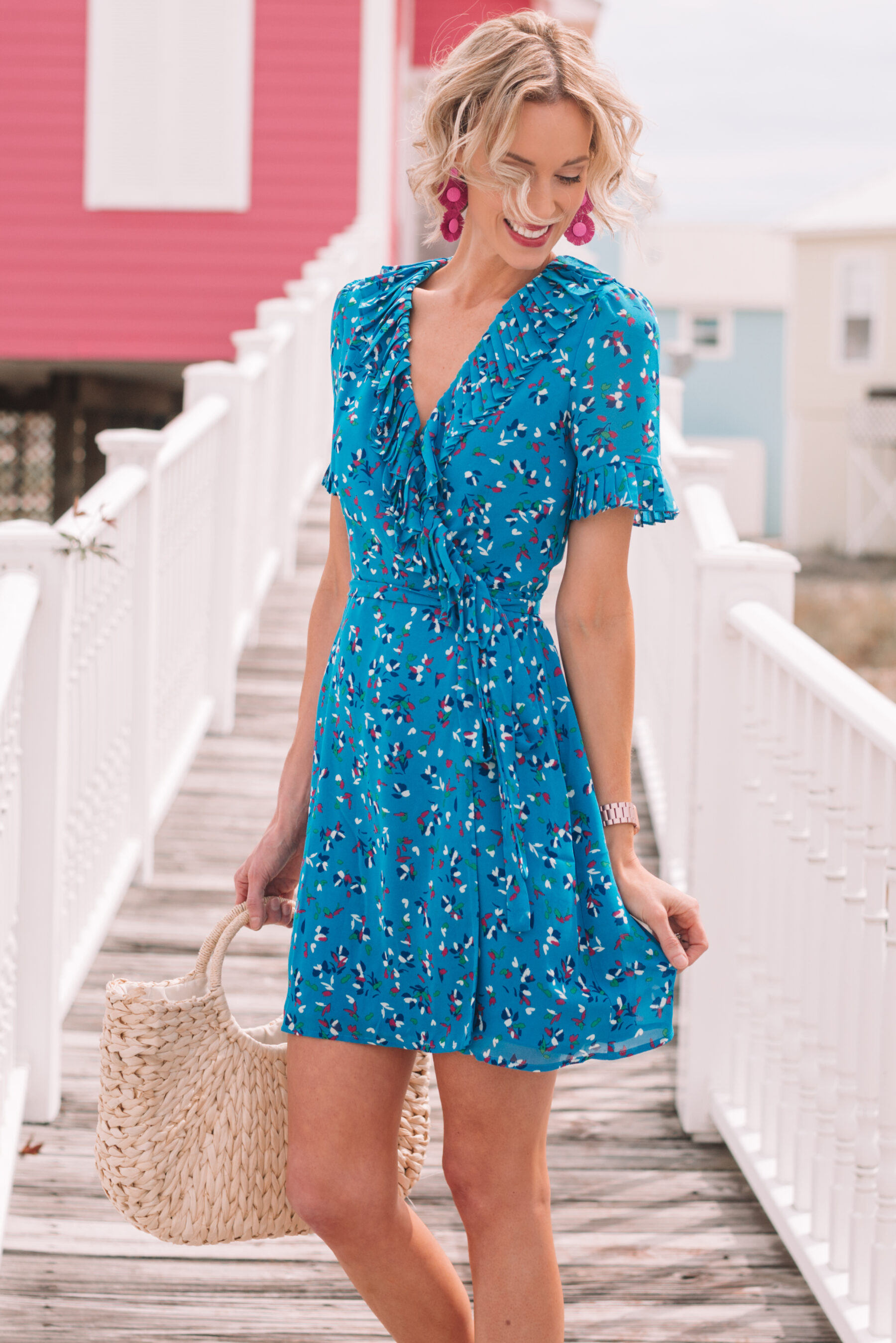 1ee48c705377f ... gorgeous blue wrap style dress for summer with confetti style print and  ruffle detailing ...