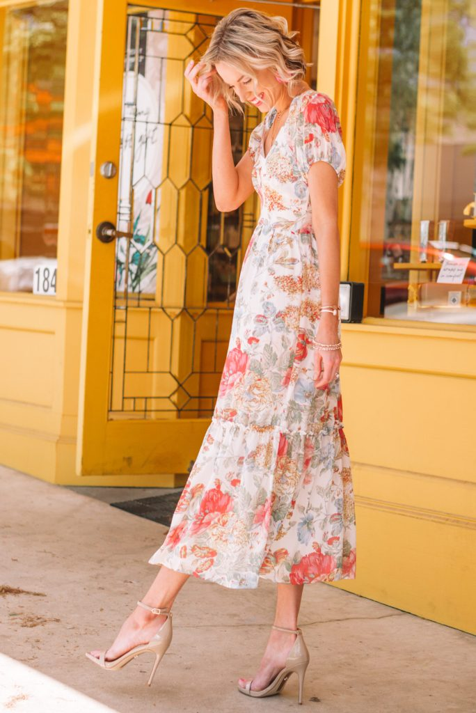 floral dress with short sleeves and nude colored heels