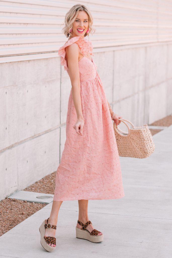 pink eyelet flutter sleeve dress with leopard flatform sandals
