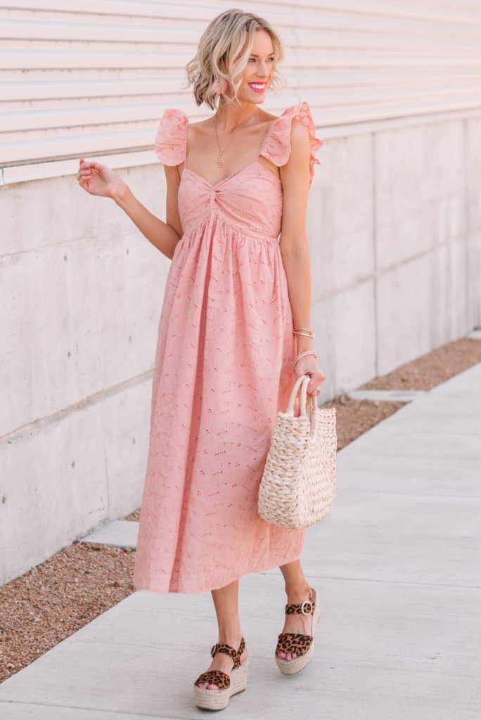 pink dress for summer worn with leopard espadrilles