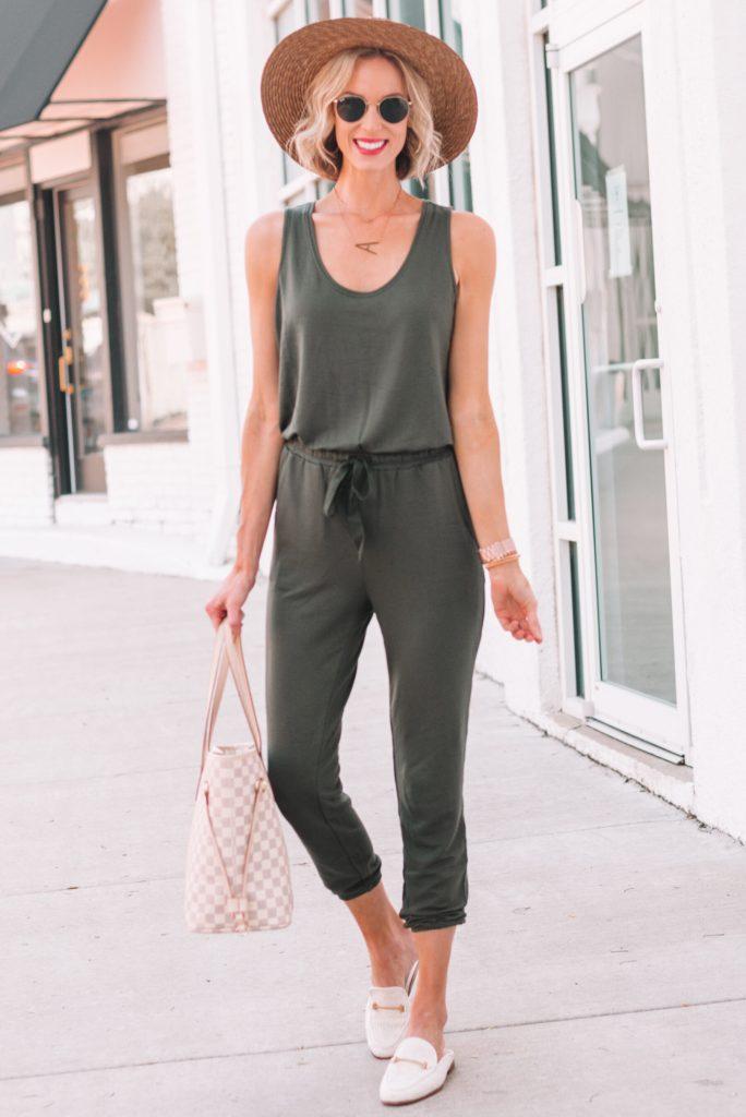 the comfiest olive jumpsuit for women, tie waist jumpsuit