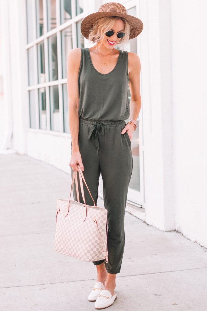 how to style a jumpsuit for summer, stylish and comfortable outfit for moms, olive jumpsuit