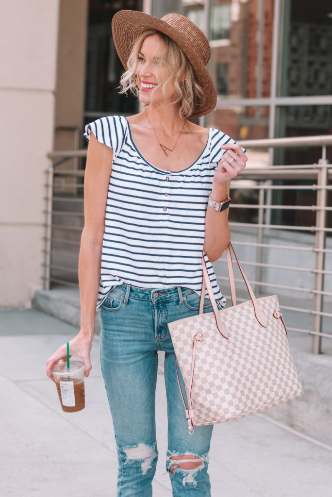 striped top, distressed jeans, hat, spring casual outfit