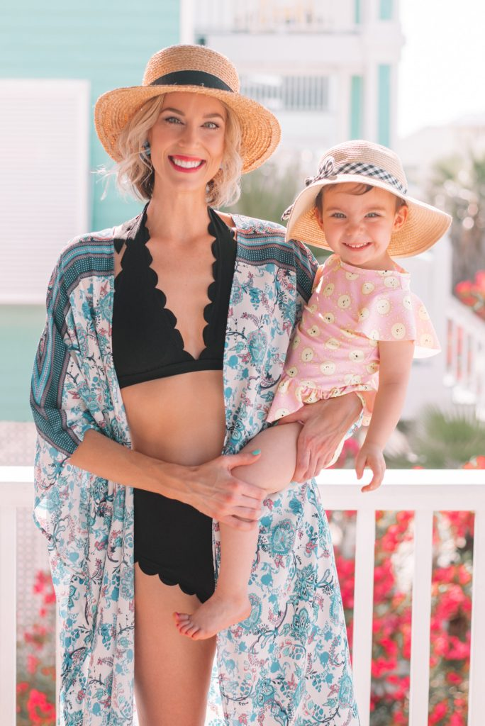 cute mother daughter beach photo, affordable suit