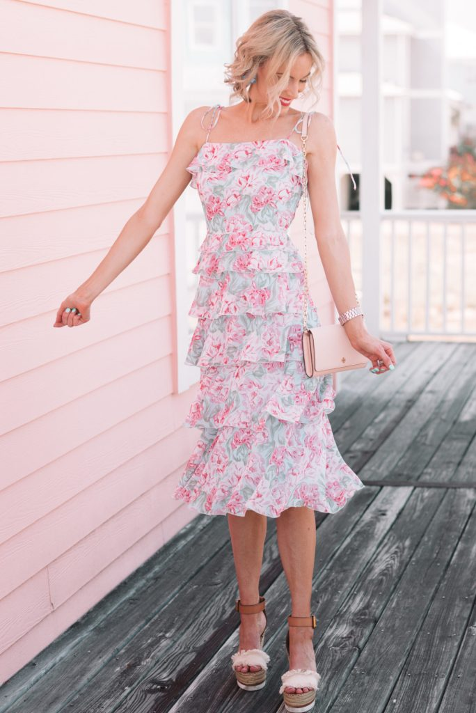 gorgeous tiered floral midi dress for summer