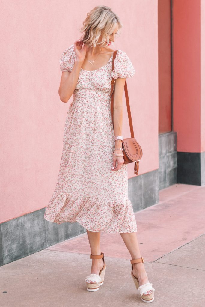 gorgeous floral peasant style midi dress with blouson sleeves