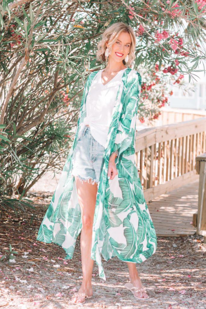 palm print kimono for the beach