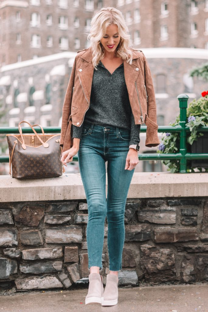 Nordstrom Anniversary outfit, soft thermal top, suede jacket, jeans, wedge sneakers