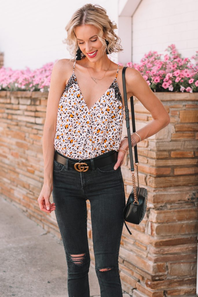 leopard bodysuit cami, black distressed jeans, summer date night outfit idea
