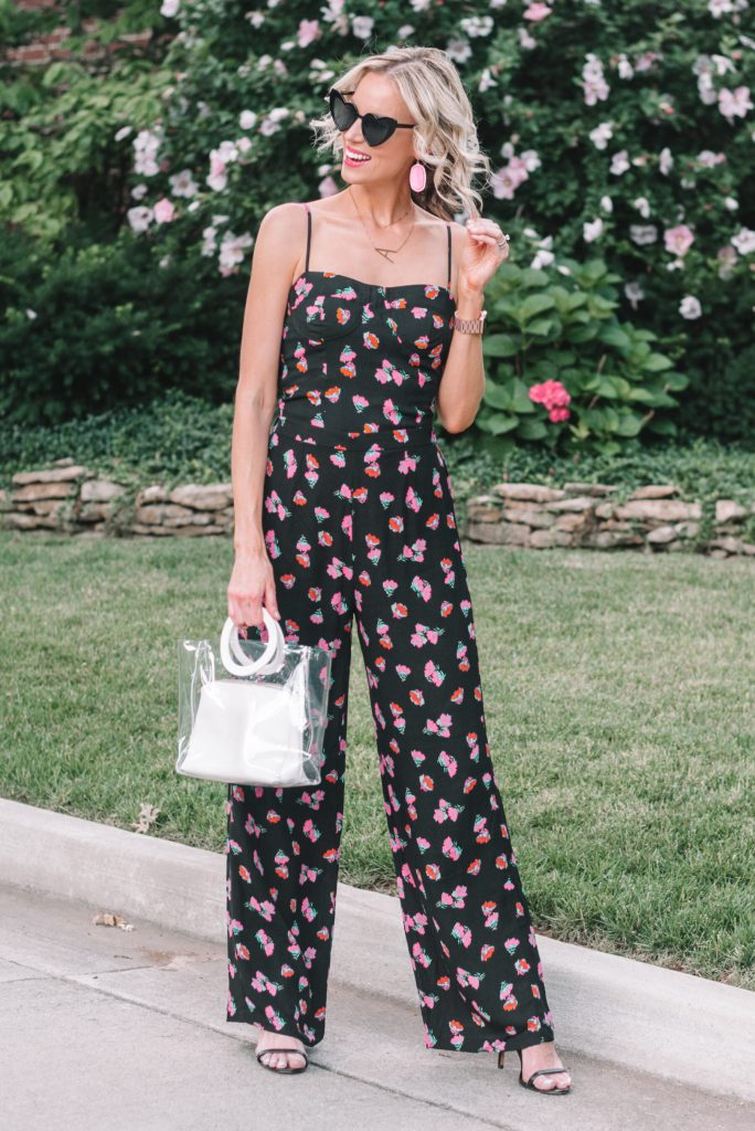 floral bustier with matching wide leg pants