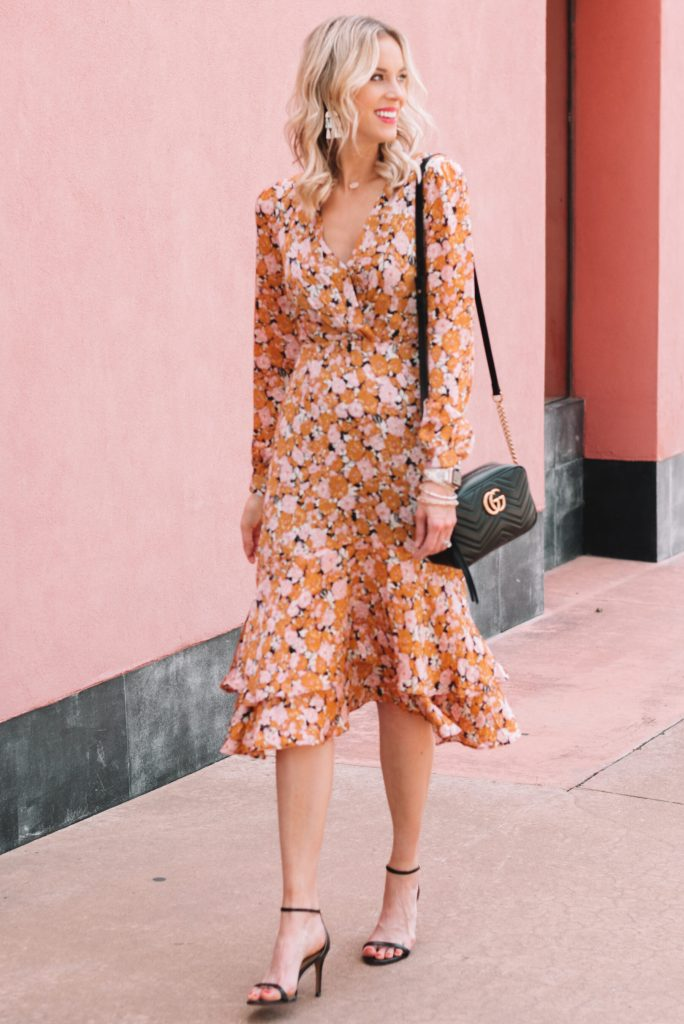 ruffle hem midi dress with long sleeves