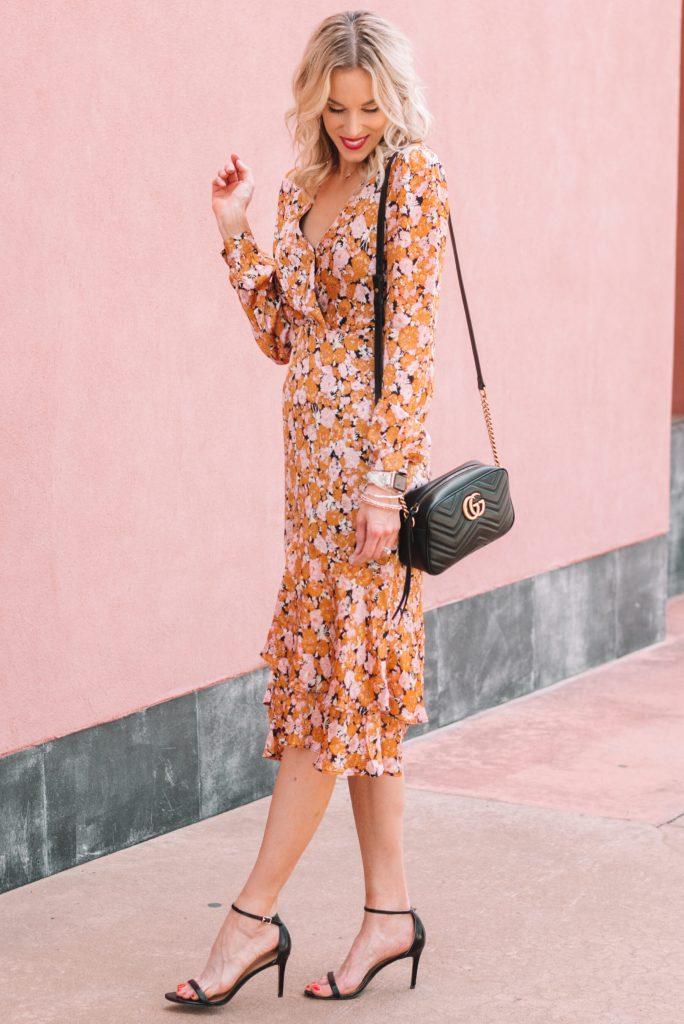 fall floral long sleeve ruffle hem midi dress