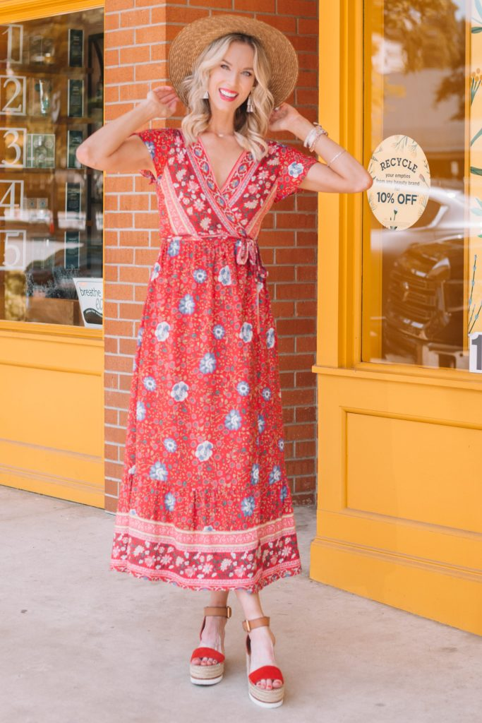 red long dress with floral pattern print