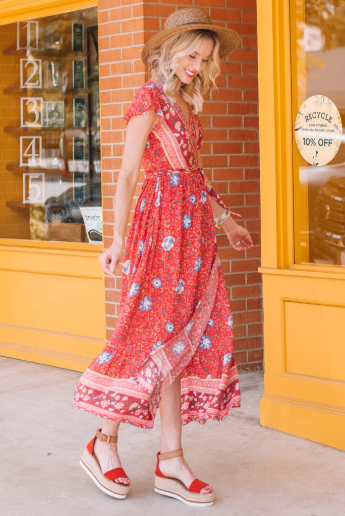 red wrap maxi dress and sandals