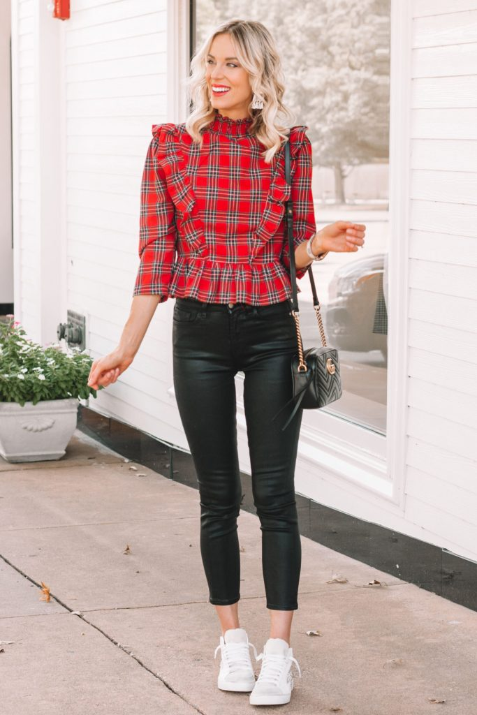 fun and edgy outfit, black coated denim