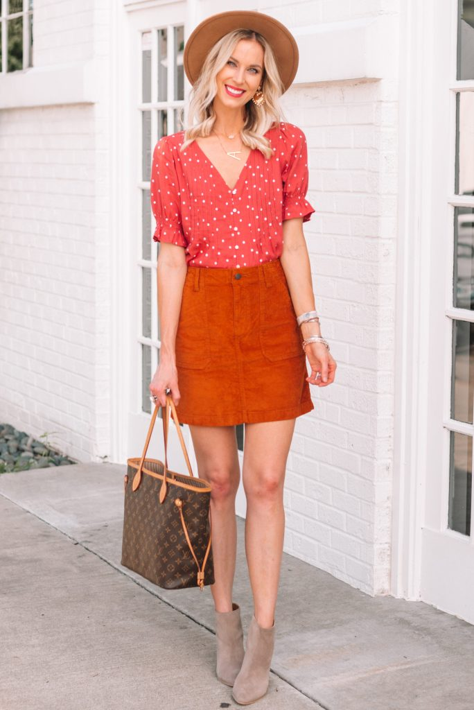 cute fall skirt and top with ankle boots