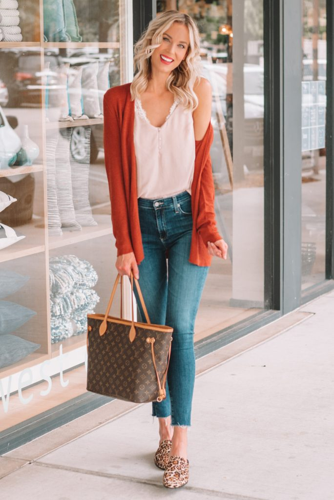 fall outfit, leopard shoe outfit ideas, rust colored cardigan, fall outfit ideas