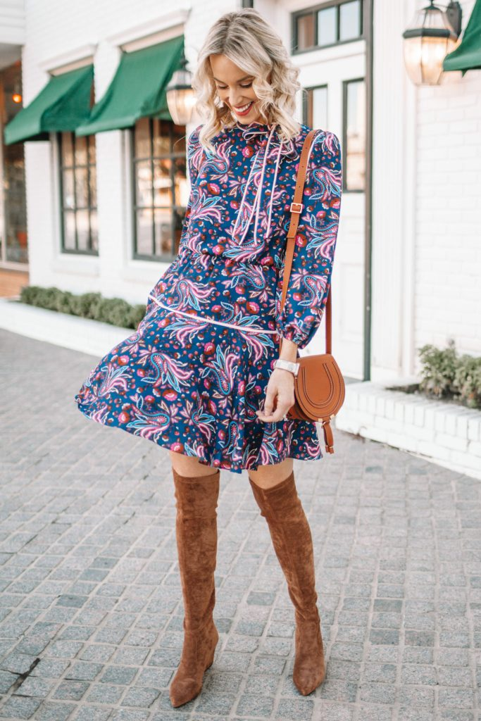 over the knee boot outfit, long sleeve short dress, fall dress outfit